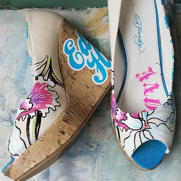 3090c897047 Ed Hardy Shoes - Ed Hardy Canvas and Cork Colorful Floral Wedges